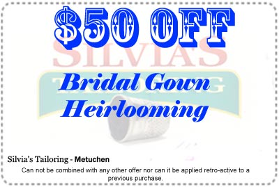 $50 Discount coupon for a bridal gown heirlooming service order