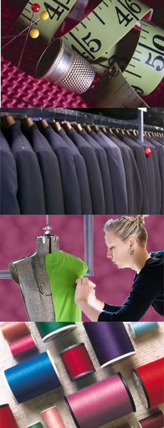 Collage of services illustrated - tailoring, alterations, dry cleaning, custom design clothing creation, bridal service